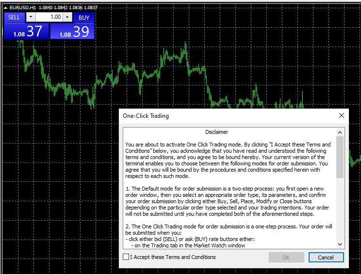 One click trade disclamer